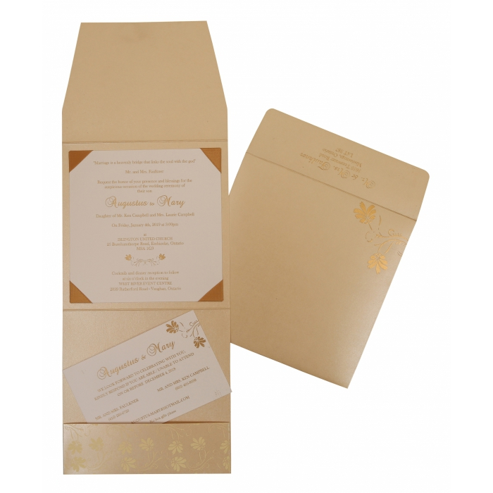 Ivory Shimmery Screen Printed Wedding Invitation : CIN-803E - IndianWeddingCards
