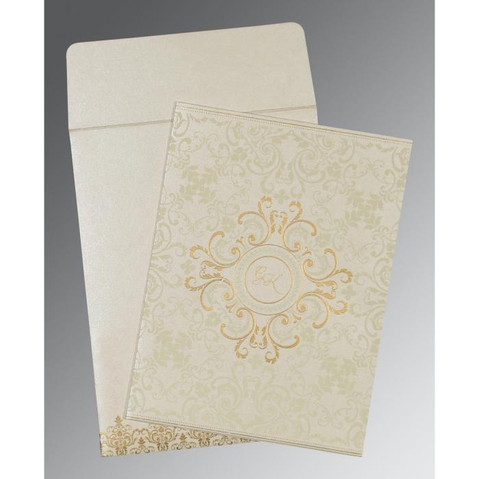 Ivory Shimmery Screen Printed Wedding Card : CIN-8244B - IndianWeddingCards