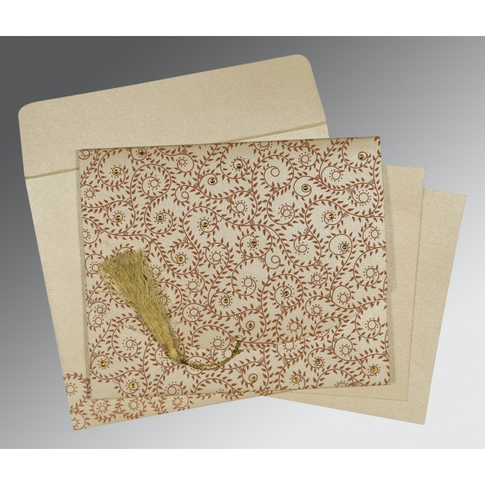 Ivory Shimmery Screen Printed Wedding Invitation : CS-8217O - IndianWeddingCards