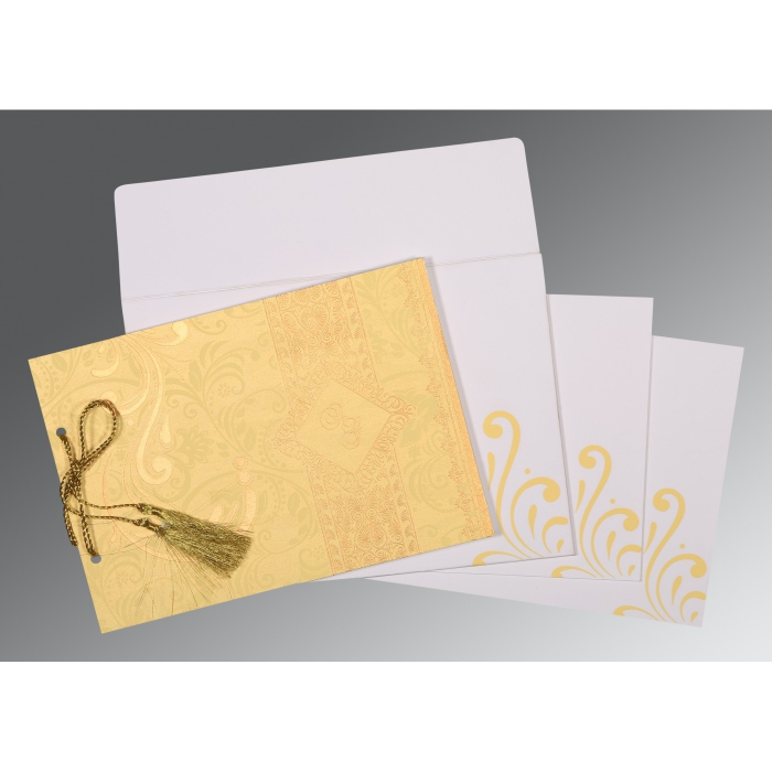 Ivory Shimmery Screen Printed Wedding Card : CS-8223D - IndianWeddingCards