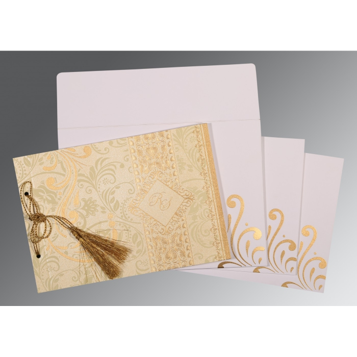 Ivory Shimmery Screen Printed Wedding Card : CW-8223L - IndianWeddingCards