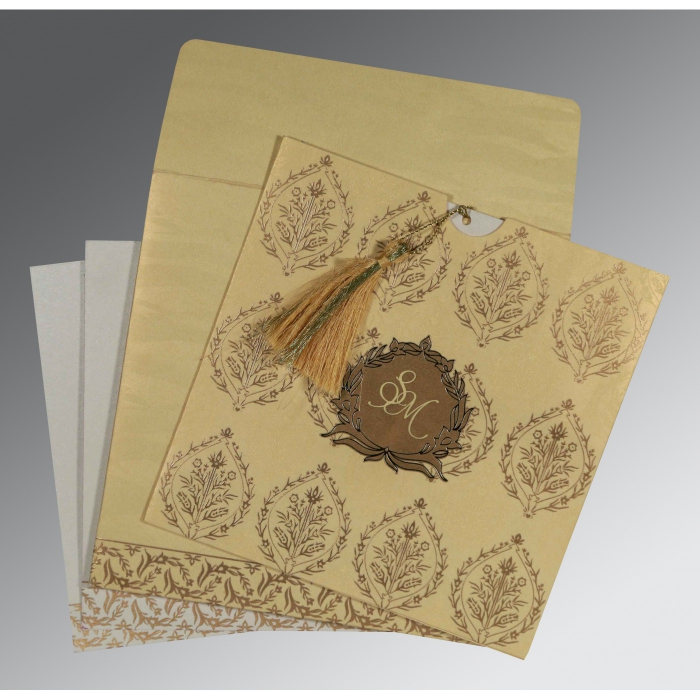 Ivory Shimmery Unique Themed - Foil Stamped Wedding Card : CW-8249G - IndianWeddingCards