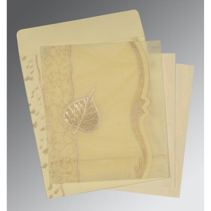 Ivory Wooly Embossed Wedding Card : CD-8210C - IndianWeddingCards