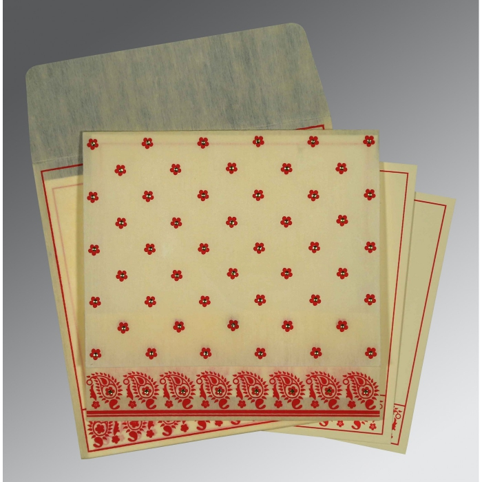 Ivory Wooly Floral Themed - Screen Printed Wedding Card : CD-8218F - IndianWeddingCards