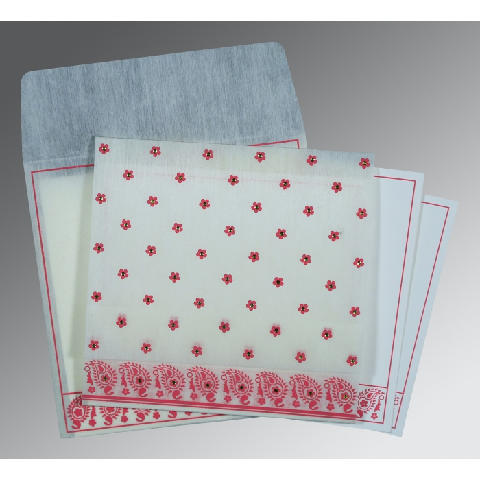 Ivory Wooly Floral Themed - Screen Printed Wedding Card : CD-8218G - IndianWeddingCards