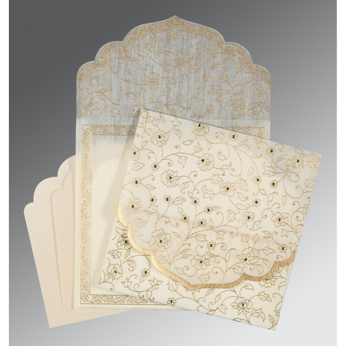 Ivory Wooly Floral Themed - Screen Printed Wedding Invitation : CI-8211G - IndianWeddingCards