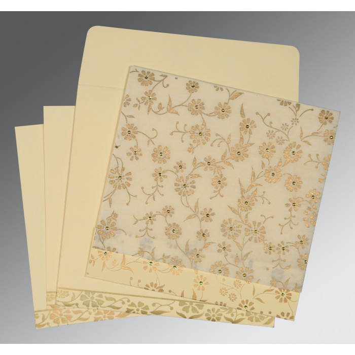 Ivory Wooly Floral Themed - Screen Printed Wedding Card : CS-8222I - IndianWeddingCards