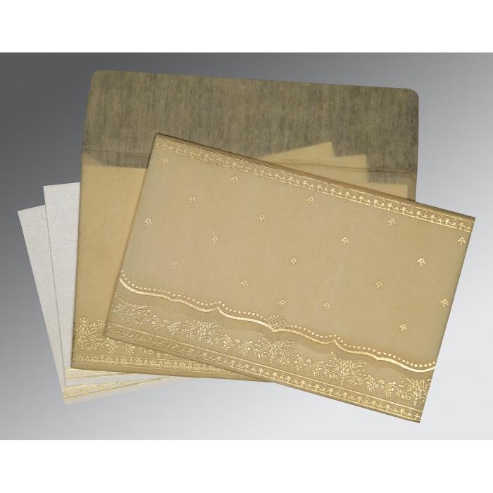 Ivory Wooly Foil Stamped Wedding Invitation : CI-8241F - IndianWeddingCards