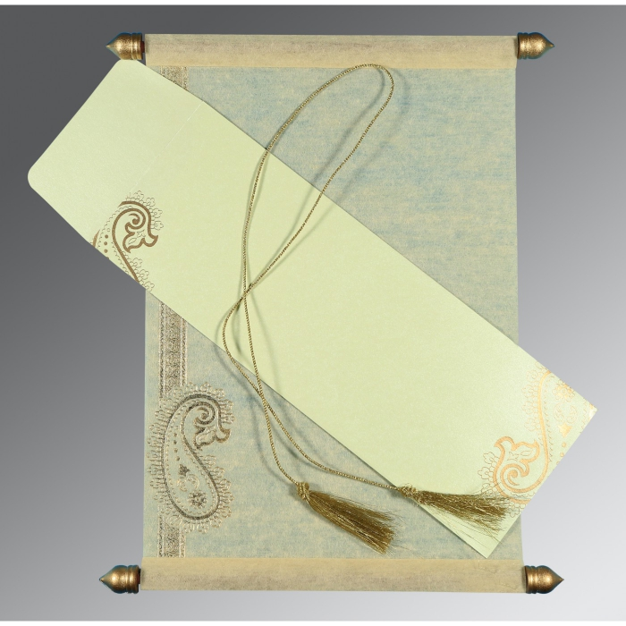 Ivory Wooly Foil Stamped Wedding Card : CSC-5015N - IndianWeddingCards