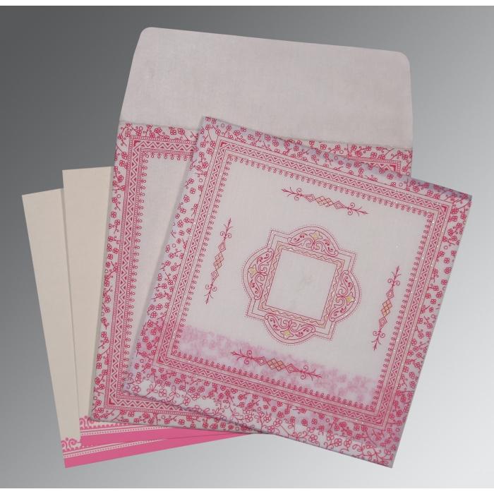 Ivory Wooly Glitter Wedding Card : CD-8205A - IndianWeddingCards