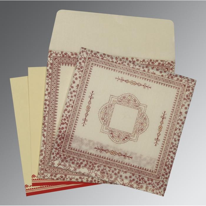 Ivory Wooly Glitter Wedding Card : CD-8205E - IndianWeddingCards