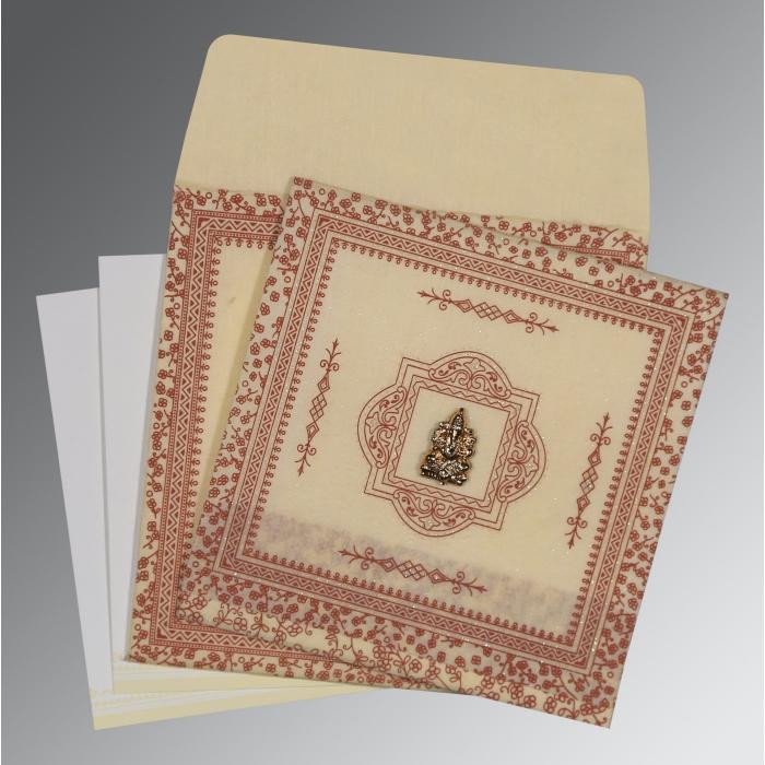 Ivory Wooly Glitter Wedding Card : CW-8205O - IndianWeddingCards