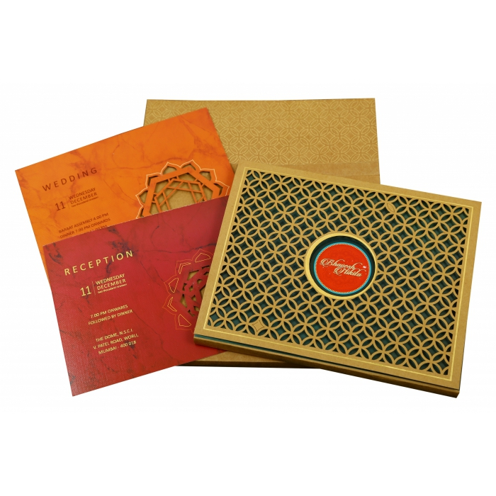 Khaki Matte Box Themed - Laser Cut Wedding Invitation : CD-1844 - IndianWeddingCards
