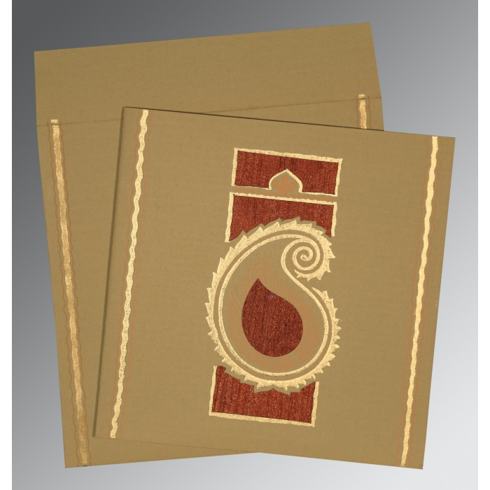 Khaki Matte Embossed Wedding Invitation : CD-1187 - IndianWeddingCards