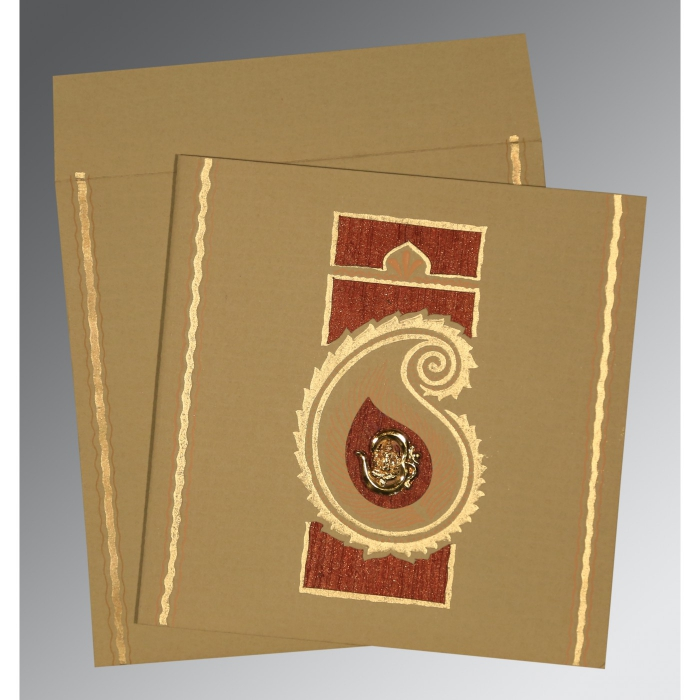 Khaki Matte Embossed Wedding Invitation : CW-1187 - IndianWeddingCards