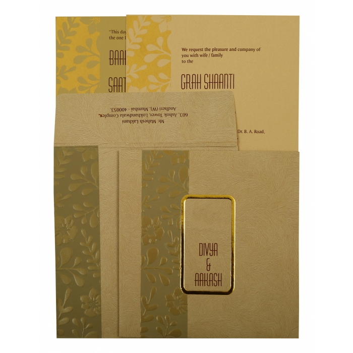 Khaki Matte Floral Themed - Foil Stamped Wedding Invitation : CIN-1897 - IndianWeddingCards