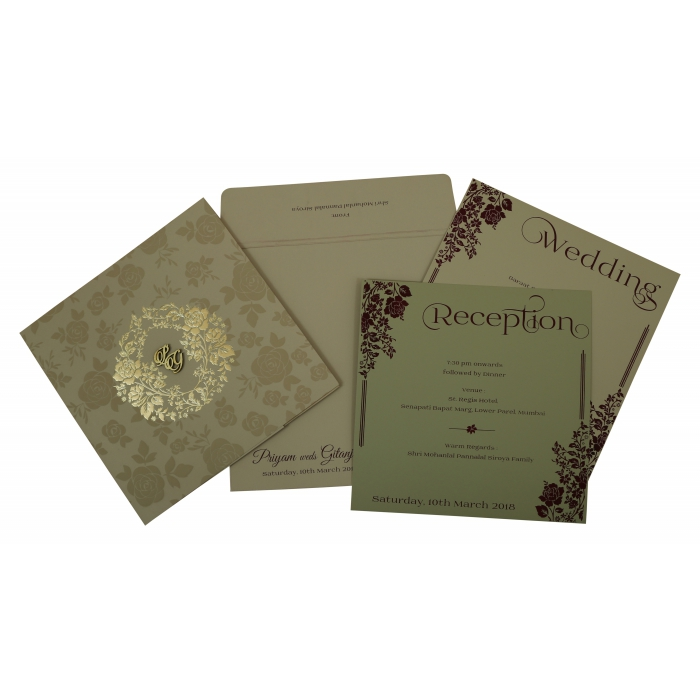 Khaki Matte Floral Themed - Foil Stamped Wedding Invitation : CW-1805 - IndianWeddingCards