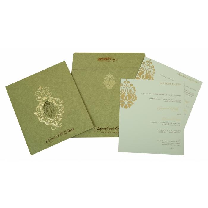 Khaki Matte Foil Stamped Wedding Invitation : CI-1813 - IndianWeddingCards