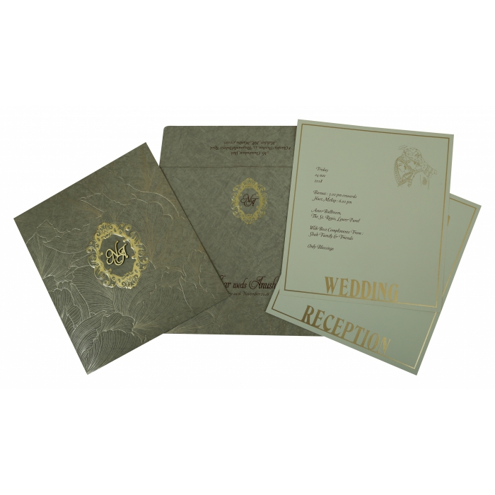 Khaki Matte Foil Stamped Wedding Invitation : CW-1804 - IndianWeddingCards