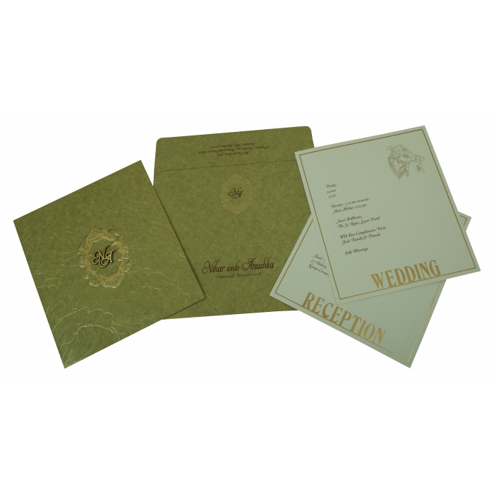 Khaki Matte Foil Stamped Wedding Invitation : CW-1814 - IndianWeddingCards