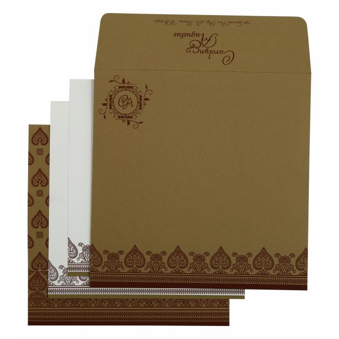 Khaki Matte Screen Printed Wedding Invitation : CI-809C - IndianWeddingCards