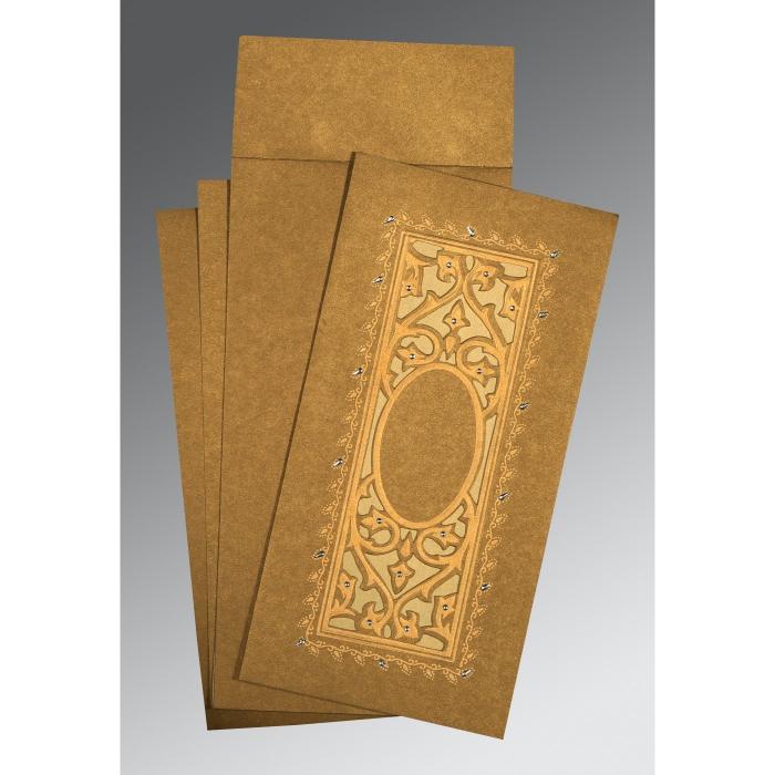 Khaki Shimmery Embossed Wedding Card : CI-1440 - IndianWeddingCards