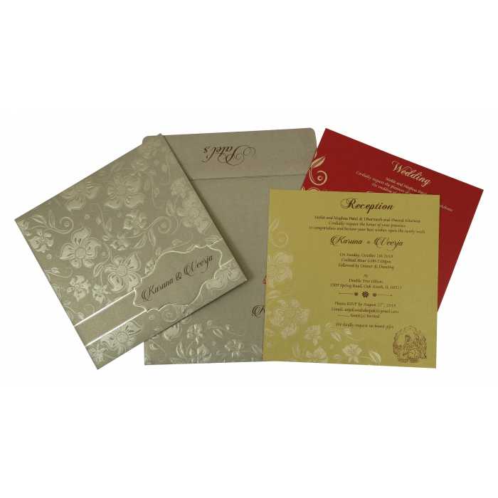 Khaki Shimmery Floral Themed - Foil Stamped Wedding Invitation : CIN-1785 - IndianWeddingCards