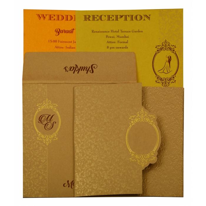 Khaki Shimmery Foil Stamped Wedding Invitation : CI-1864 - IndianWeddingCards