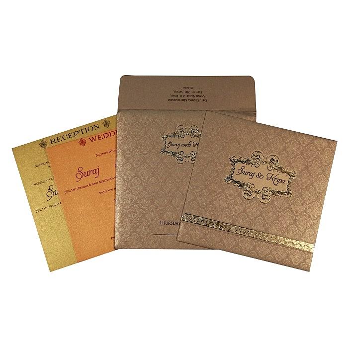 Khaki Shimmery Foil Stamped Wedding Card : CC-1713 - IndianWeddingCards