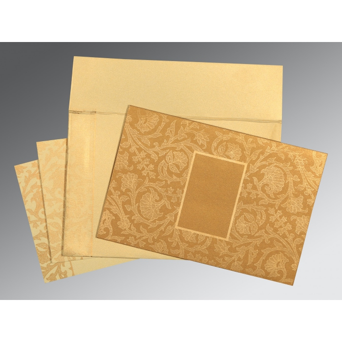 Khaki Shimmery Pocket Themed - Embossed Wedding Invitations : CD-1434 - IndianWeddingCards