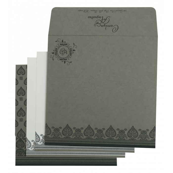 Light Grey Matte Screen Printed Wedding Invitation : CI-809A - IndianWeddingCards