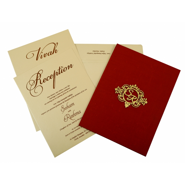 Maroon Satin Box Themed - Wedding Invitation : CW-1845 - IndianWeddingCards
