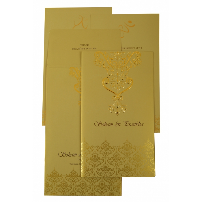 Mehndi Shimmery Paisley Themed - Screen Printed Wedding Invitation : CD-1920 - IndianWeddingCards