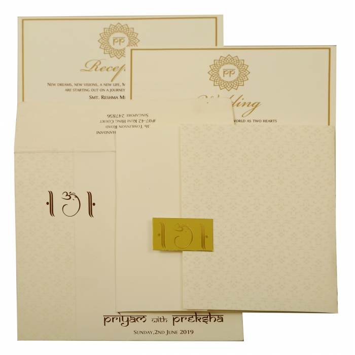 Off White Matte Paisley Themed - Screen Printed Wedding Invitation : CD-1881 - IndianWeddingCards