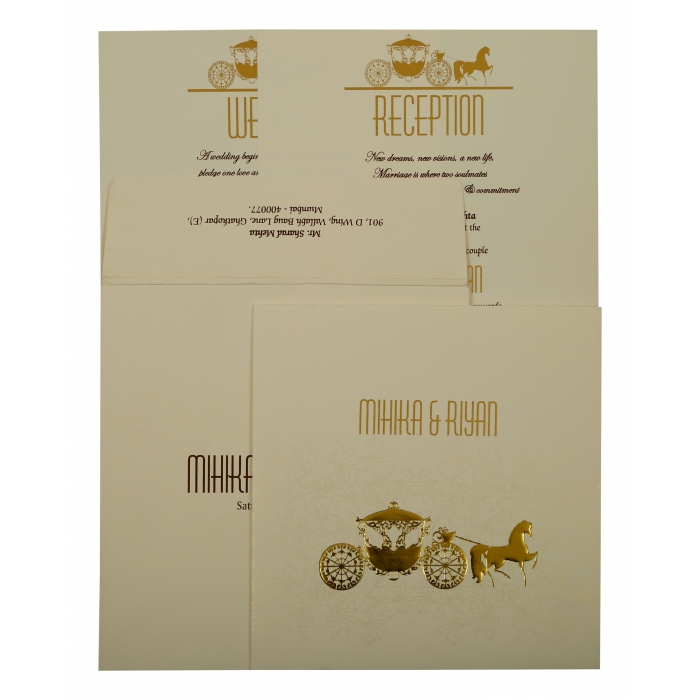 Off White Matte Screen Printed Wedding Invitation : CD-1896 - IndianWeddingCards