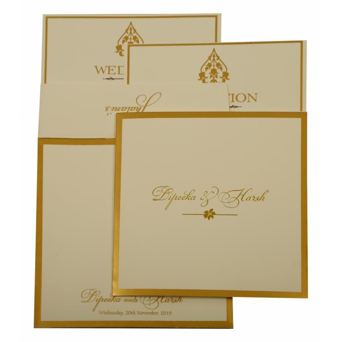 Off White Matte Screen Printed Wedding Invitation : CD-1931 - IndianWeddingCards