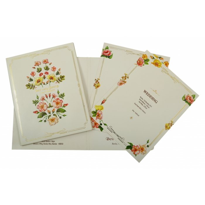 Off White Shimmery Box Themed - Foil Stamped Wedding Invitation : CW-1849 - IndianWeddingCards