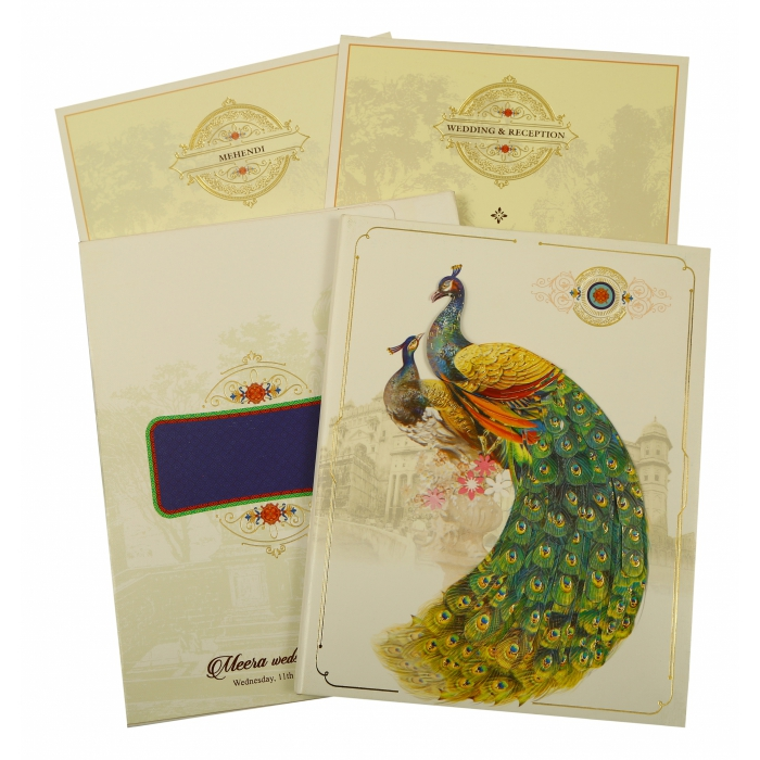 Off White Shimmery Peacock Themed - Foil Stamped Wedding Invitation : CIN-1866 - IndianWeddingCards