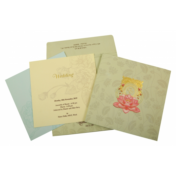 Olive Green Matte Box Themed - Foil Stamped Wedding Invitation : CW-1850 - IndianWeddingCards