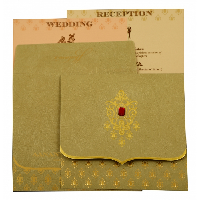 Olive Green Matte Paisley Themed - Foil Stamped Wedding Invitation : CD-1884 - IndianWeddingCards
