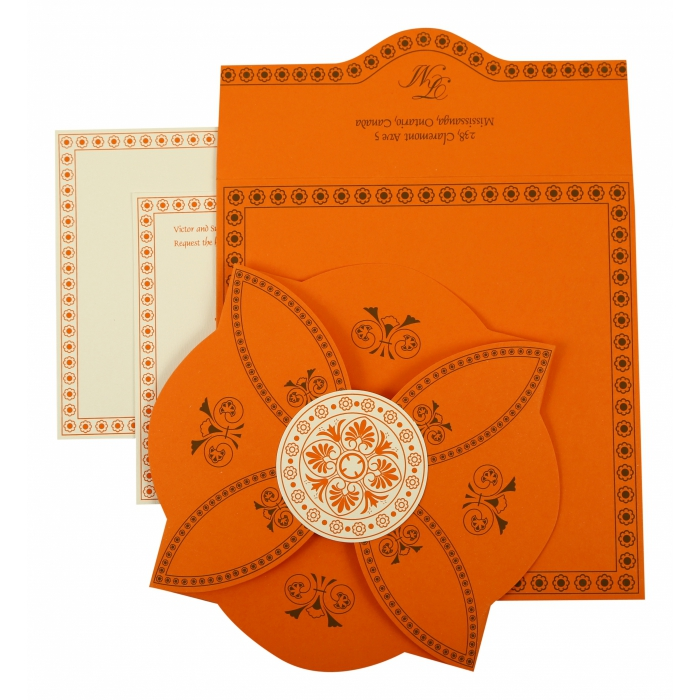 Orange Butterfly Themed - Screen Printed Wedding Invitation : CIN-820A - IndianWeddingCards