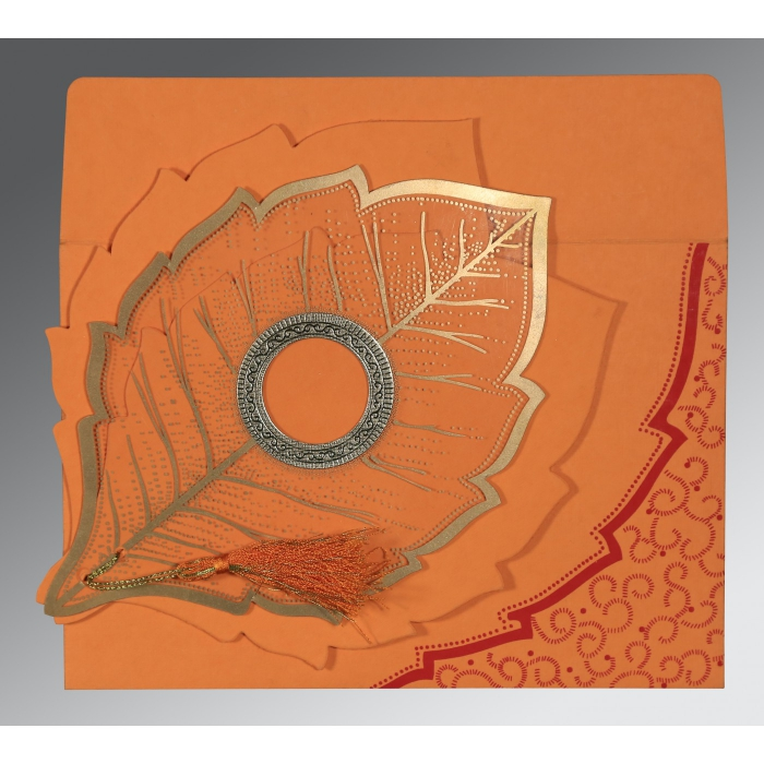 Orange Handmade Cotton Floral Themed - Foil Stamped Wedding Card : CW-8219B - IndianWeddingCards