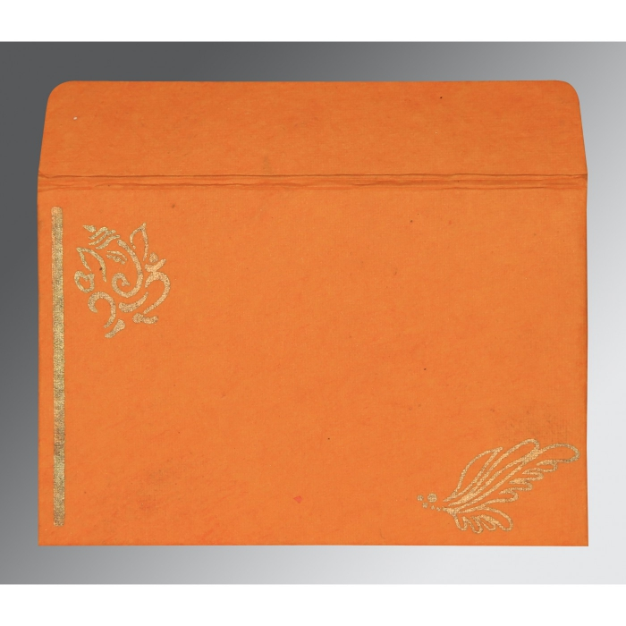 Orange Handmade Cotton Screen Printed Wedding Card : CW-2251 - IndianWeddingCards