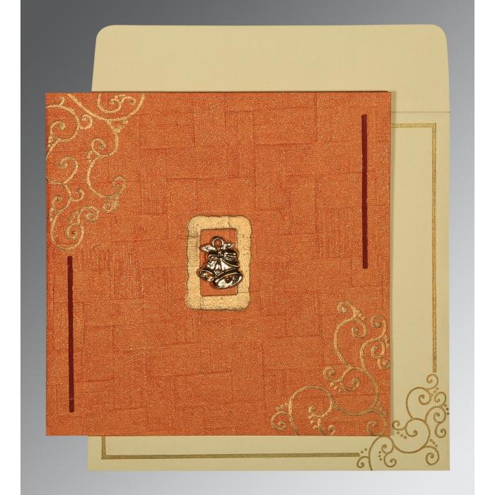 Orange Handmade Shimmer Embossed Wedding Invitation : CC-1236 - IndianWeddingCards