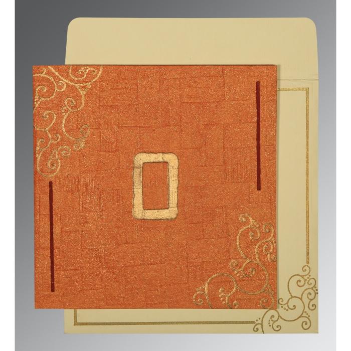 Orange Handmade Shimmer Embossed Wedding Invitation : CD-1236 - IndianWeddingCards