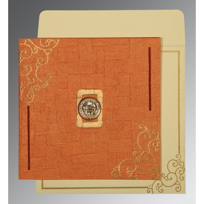 Orange Handmade Shimmer Embossed Wedding Invitation : CS-1236 - IndianWeddingCards