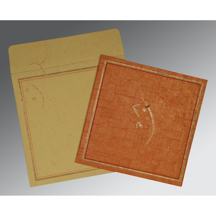 Orange Handmade Shimmer Embossed Wedding Invitation : CW-2177 - IndianWeddingCards