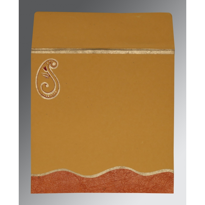 Orange Handmade Shimmer Embossed Wedding Card : CW-2248 - IndianWeddingCards