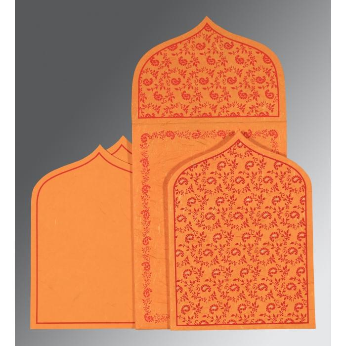 Orange Handmade Silk Paisley Themed - Glitter Wedding Invitation : CI-8208G - IndianWeddingCards