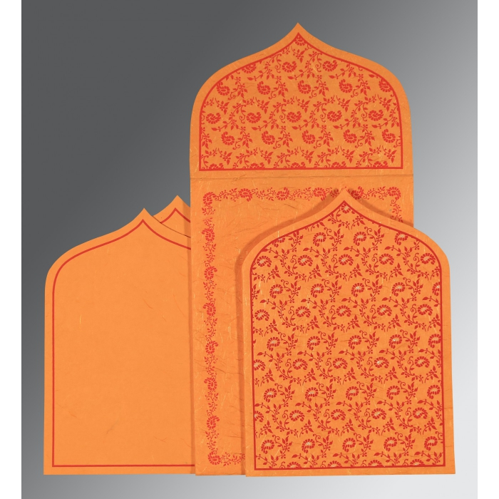 Orange Handmade Silk Paisley Themed - Glitter Wedding Invitation : CS-8208G - IndianWeddingCards